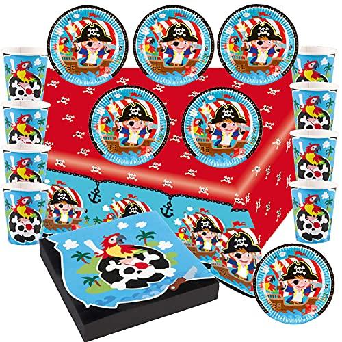 Juego de 37 piezas para fiesta de cumpleaños infantil, platos, vasos, servilletas, piratas