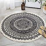 Nicole Knupfer Mandala Runde Teppich, Bohemian Style Moderne einfache wolldecke, Cotton Teppich für Indoor Outdoor, Durchmesser 92cm (#09)