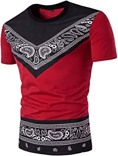 Fashion Men's Summer Ethnic Style African Print T-Shirt Top Blouse