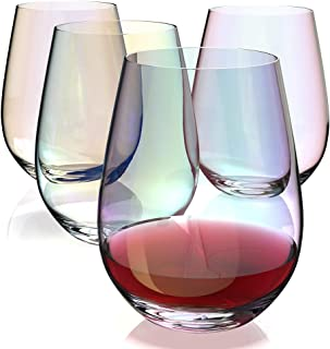 Amesser Stemless Wine Gl 18 - Ounce Set of 4, Lead·Free Tumbler Style Stemware Wine glass for Burgundy, Cabernet, Sauvigno...