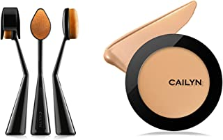 Bundle 2 Items: Cailyn O Wow Brush +HD Super Pro Coverage Matte Finish Foundation Light Weight (Adobe-2)