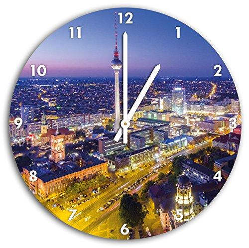 Berlin City Panorama, Wanduhr Durchmesser 30cm mit weißen spitzen Zeigern und Ziffernblatt, Dekoartikel, Designuhr, Aluverbund sehr schön für Wohnzimmer, Kinderzimmer, Arbeitszimmer