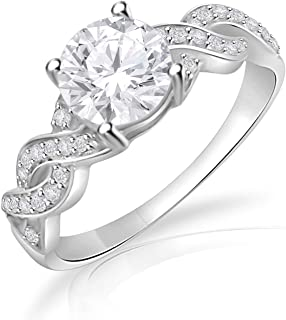 14K White Gold Plated Infinity Promise Ring Engagement Ring for AAA Clear Cubic Zirconia Size 4-14