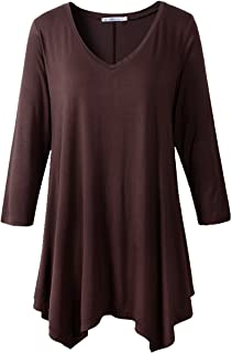 Halife Womens Casual Round Neck Long Sleeve Oblique Hem Side Button Tunic Tops