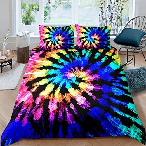 Tie Dye Bedding Single Boho Exotic Tribe Style Boys Girls Duvet Cover Chic Hippie Theme Comforter Cover Set with Zipper Ties Tie Dye Decor Duvet Cover for Adult Women Soft Microfiber Duvet Cover