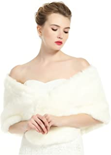 Wedding Faux fur Shawl For Women Bridal Cape Cover Up Party Gown Wrap Winter