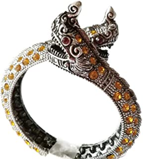 Bracelet Silver Plated Thai 2 Headed Dragon Snake Naga Payanark Yellow Color Stone & Red Eyes Adjustable Size in Jewelry Red Bag for Men Women 1 Pc.