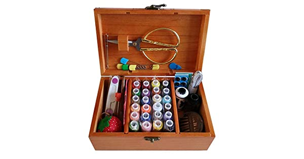 Suitable for Beginners//Girls//Womens Sewing Box//Sewing Baskets with Wooden Box//Thread//Needle//Hand Tape//Scissors//Thimble//Safety Pins Included claybank