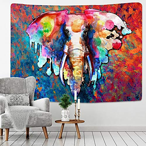 KHKJ Bohemian Mandala Elephant Tapestry Wall Hanging Sandy Beach Picnic Throw Rug Blanket Camping Tent Travel Sleeping Pad A15 95x73cm