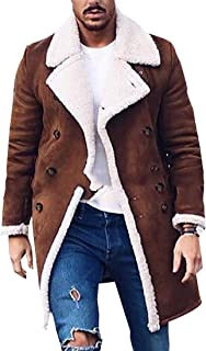 Mens Winter Long Sleeve Double Breasted Shearling Lined Long Suede Jackets