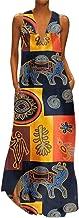 Reooly Vestido Largo sin Mangas con Cuello en V sin Mangas con Cuello en V y Estampado de Moda para Mujer Vestido Largo de Fiesta Nacional