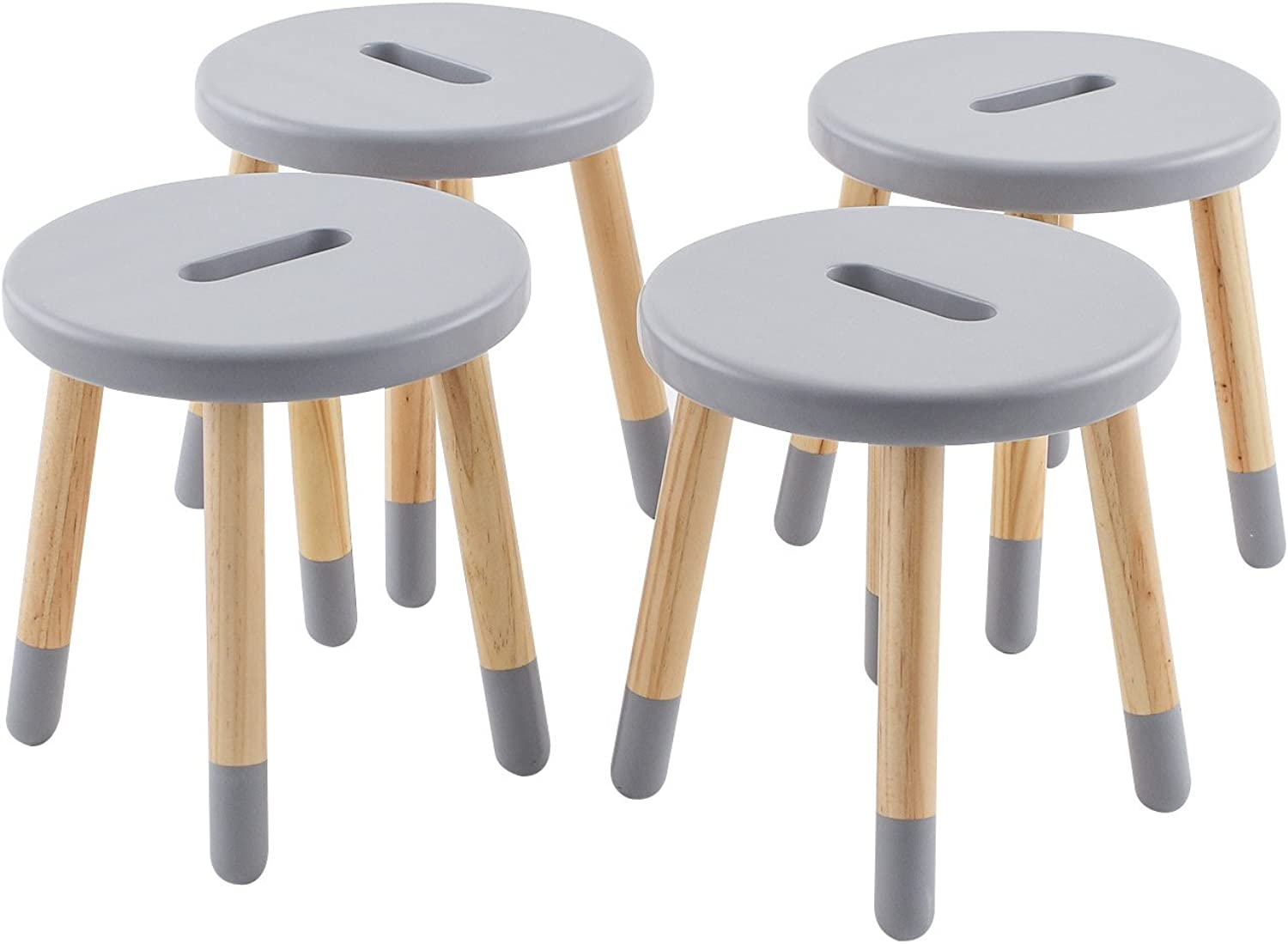 Max & Lily Natural Wood Kid and Toddler Stool Grey Set of 4