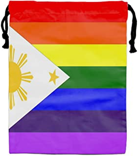 Luxury Jewelry Pouches Drawstring Gift Favor Bags Candy Bag, 15.75x11.8 Inch-LGBT Flag Of The Philippines