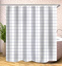 JMHX Plaid Shower Curtains Waterproof Geometric Bath Curtains for Bathroom Bathtub Household Bathing Cover with Hooks