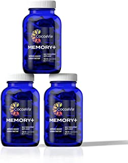 CocoaVia Memory+ Brain Supplement, 750 mg of Cocoa Flavanols | Brain Support for Improved Memory and Brain Function | 90 D...
