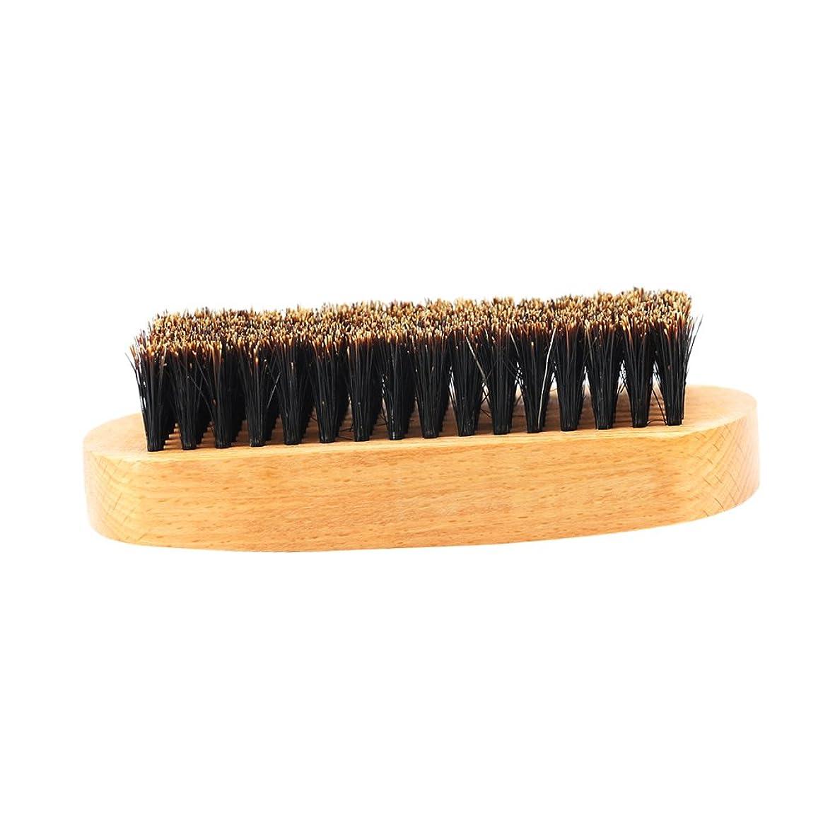 流産シェアかすれたKesoto ビュアブラシ 豚毛 髭ブラシ メンズ ひげブラシ 天然木ハンドル 口ひげケア 2タイプ選べる - #1