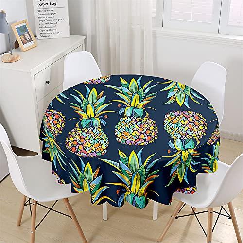 Chickwin Mantel Impermeable y Antimanchas Redondo, Mantel para Mesa Estampado Piña de Frutas 3D, Mantel de Poliéster para Jardin, Comedor, Cocina, Salón Decoración (Azul,90cm)