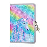 ICOSY Sequin Girls Diary with Lock Notebook for Girls Journal Unicorn Travel Journal Kids Writing Notebook...