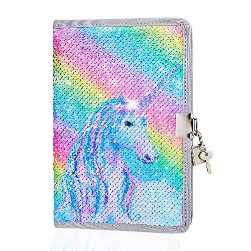 ICOSY Diary for Girls Unicorn Journal with Lock Writing Journal Unicorns Gifts for Girls Kids Locking Diary Unicorn Notebook