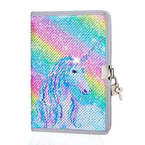 ICOSY Sequin Girls Diary with Lock, Girls Secret Diary Unicorn Kids Travel Journal Girls Writing Notebook Sketchbook Unicorn Gifts for Girls