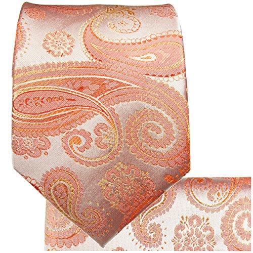 Cravate homme corail paisley ensemble de cravate 3 Pièces (longueur 165cm)