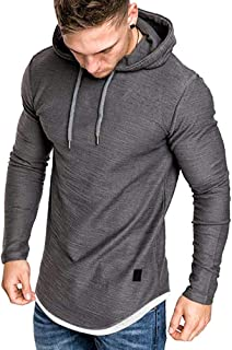 Men's Casual Hooded T-Shirts - Fashion Short Sleeve Solid Color Pullover Top Blouse