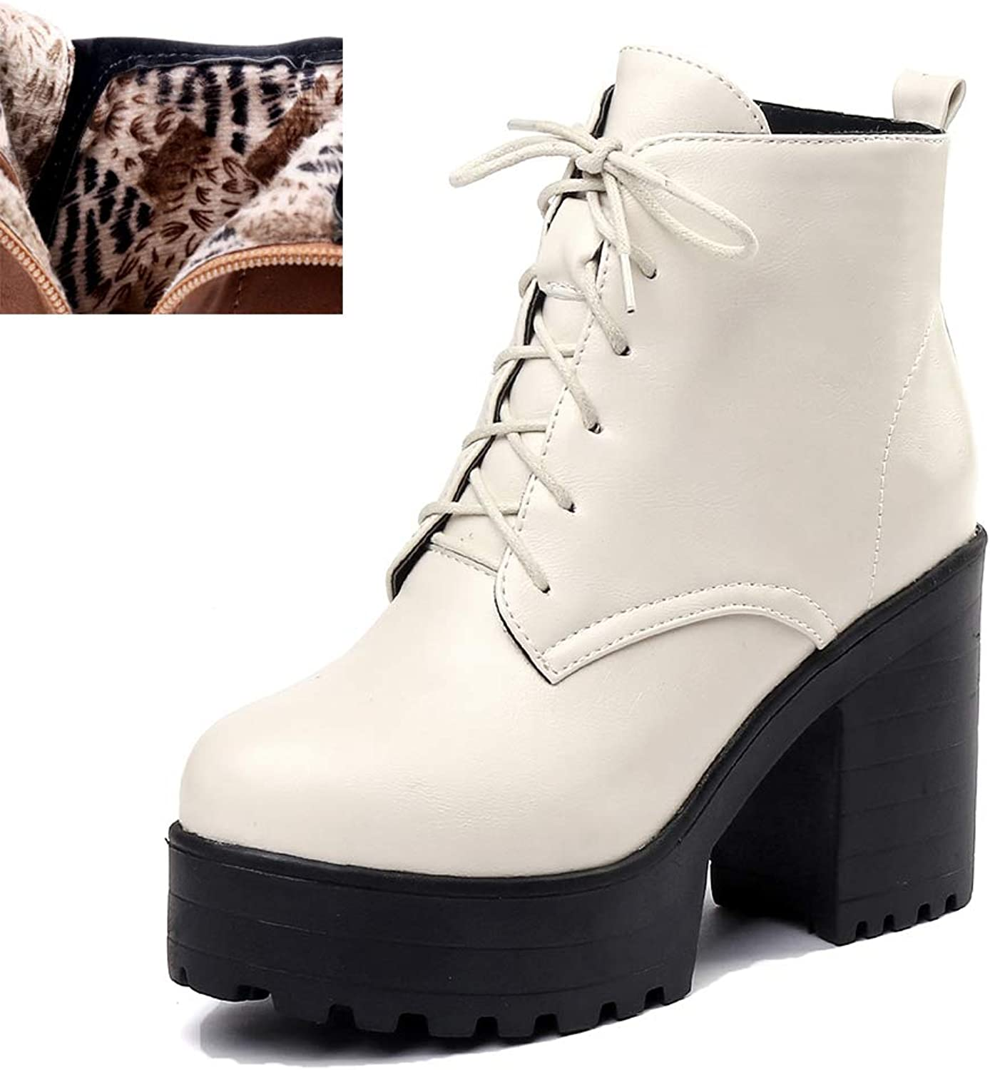 Winter Women Ankle High Heel Women Boots Black Warm Fur Thick Platform Lace Up Casual shoes