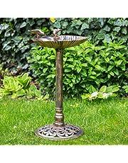 Poidło dla ptaków, miejsce na karmę, dekoracja ogrodowa/balkonowa, muszla dla ptaków w kolorze złotym/brązowym, wysokość ok. 66 cm