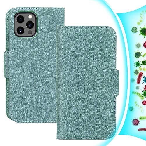 FYY Funda de piel sintética para iPhone 12 Pro Max 5G 2020, antibacteriana, antibacteriana, antibacteriana, para iPhone 12 Pro Max, con tecnología RFID y ranuras para tarjetas, color verde