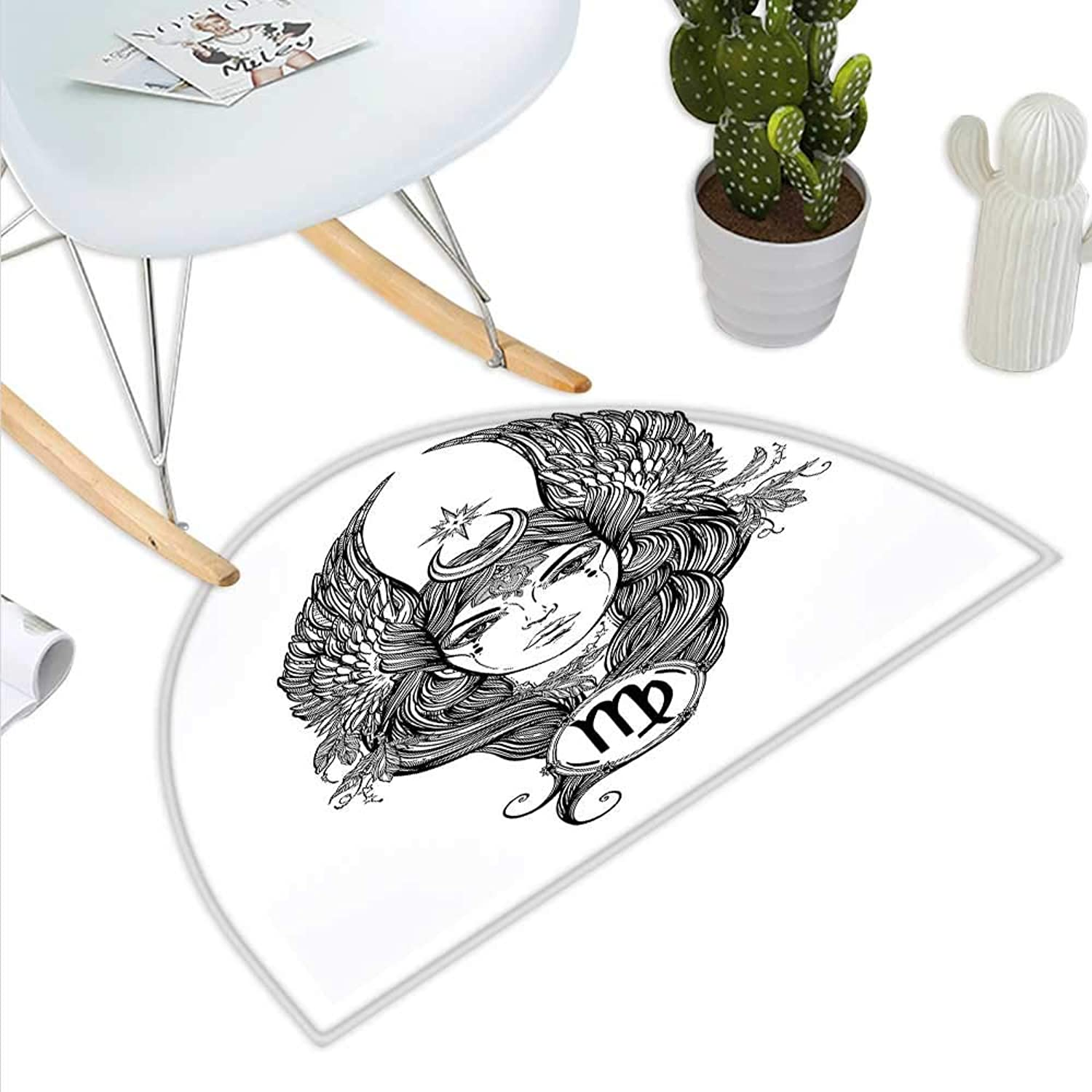 Virgo Semicircle Doormat Black and White Monochrome Drawing of a Woman with Long Hair and Wings Hgoldscope Halfmoon doormats H 31.5  xD 47.2  Black White