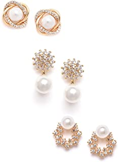 Zaveri Pearls Combo of 3 Cubic Zirconia & Pearls Contemporary Stud Earrings For Women-ZPFK10381