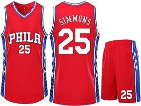 CNMD Camiseta de Baloncesto Phila # 25 Simmons, Camiseta de Baloncesto roja para niños/Hombres Hecha de Tela Transpirable y de Secado rápido para fanáticos de la Ropa deportiva-3XS