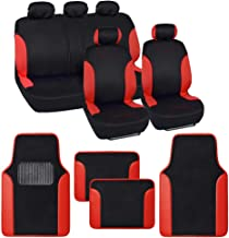 BDK Combo Double Trim Car Seat Covers (2 Front 1 Bench) Auto Carpet Floor Mats (4 Set) with Heavy Protection Sleek Graphic Two Tone Fresh Design All Protective - Red Accent