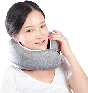 Layaker Travel Pillow 100% Pure Memory Foam Neck Pillow, Upgrade Airplane Travel Pillow Against Dust Mite, Breathable, Washable, Airplane Travel Kit with 3D Sleeping Eye Mask and Earplugs, Grey