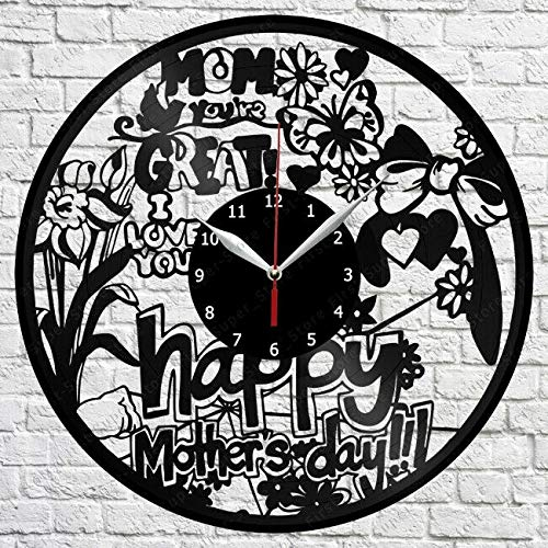 Samorou Reloj De Pared con Disco De Vinilo para El Día De La Madre Reloj De Pared para Dormitorio 12 Pulgadas 30 Cm Sala De Estar Reloj De Pared Decorativo 12 Pulgadas 30 Cm