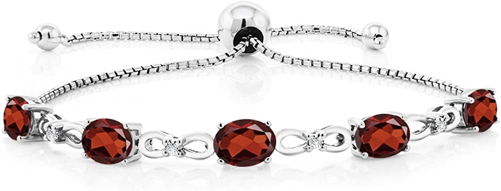 Gem Stone King 925 Classic Sterling Silver Garnet Opening large release sale Grown and Diam Red Lab