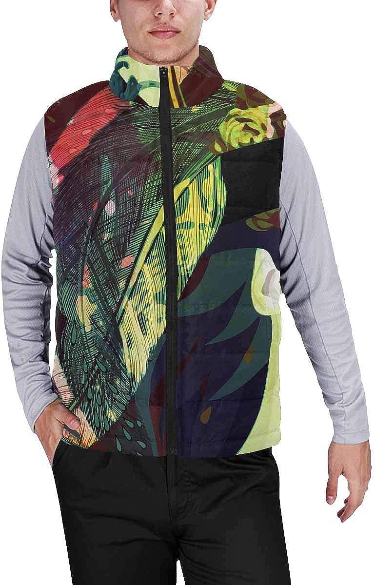 InterestPrint Men's Full-Zip Soft Warm Winter Outwear Vest Sugar Skull Portrait
