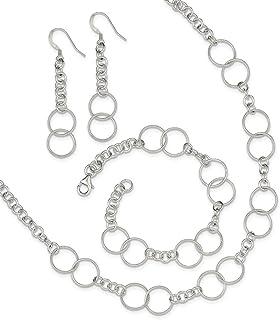 Sterling Silver Polished Fancy Lobster Closure Necklace Bracelet and Earring Set