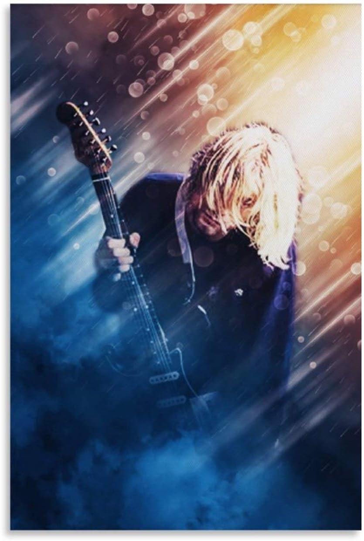 NQSB Póster artístico de Kurt Cobain de los 80 guitarristas y arte de pared, moderno póster de decoración de dormitorio familiar 30 x 45 cm