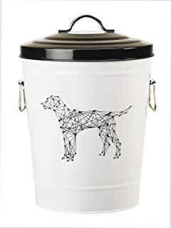 Amici Pet A7YY022DR Collection Dog Zentangle Pet Food Large Metal Storage Bin, 17 LB Capacity, Small