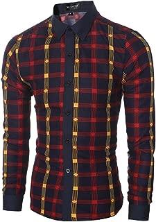 Autumn Shirts for Men, Classic Long Sleeve Plaid Dress Shirt