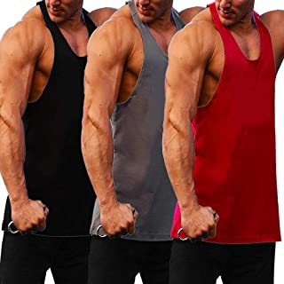 JINIDU Men's 3 Pack Quick Dry Gym Tank Tops Y-Back Workout Muscle Tee Fitness Bodybuilding Training Sports Sleeveless T Shirt