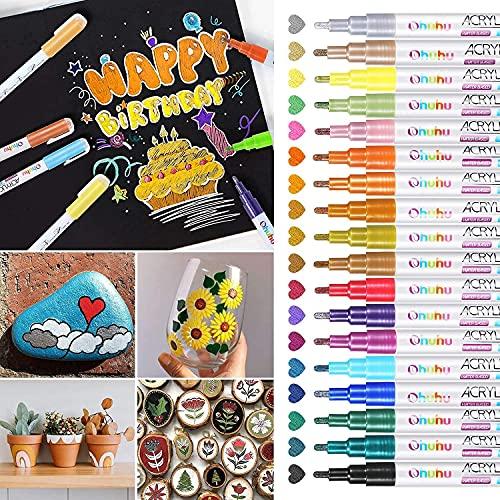 Acrylfarben Stifte, Ohuhu 18 Farben Metallic Marker Stifte für Keramik, Porzellan, Metall, Glas, Steine, Kiesel, Stoff, Holz & DIY Cup Design, Wasserfeste Stifte