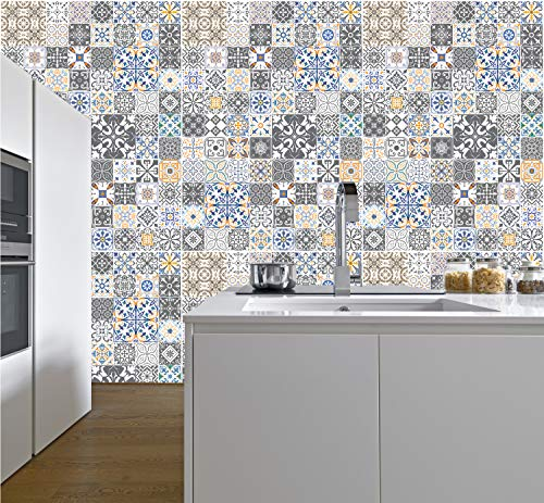 murimage Fototapete Mosaik Ornamente 274 x 254 cm inklusive Kleister Vintage Retro Muster Kacheln Fliesen Portugal Mediterran Küche Bad
