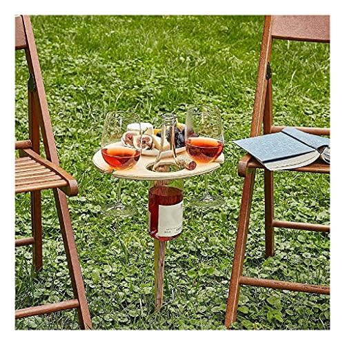 QINHE Estantes para Vino Inserte El Suelo Mesa De Vino Jardín Césped Al Aire Libre para Familias Entusiastas De Acampar Bandeja De Soporte para Vino Patio Bar Cerveza Mesa De Picnic,A