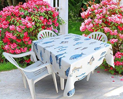 jojo la cigale - Nappe CALANQUES Coton Imprimé Enduit Carrée 160x160cm Blanc & Bleu