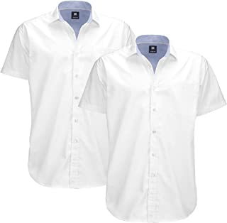 Sponsored Ad - Mens Oxford Big and Tall Solid Short Sleeve 2 Pack Button Up Casual Shirt