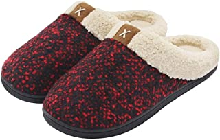 Treslin Breathable Memory Foam Slippers,Ladies Comfort Memory Foam Slippers Wool-Like Plush Fleece Lined House Shoes w/Indoor Outdoor Anti-Skid Rubber Sole-7/8 UK_Wine