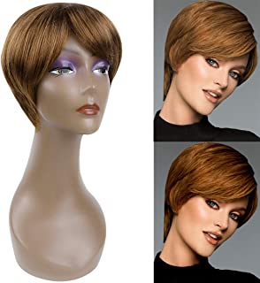 BECUS BEAUTY Short Pixie Cut Straight Wigs with Bangs Natural Synthetic Heat Resistant Fiber Hair Wigs for Women with Cap Wig (Strawberry Blonde)