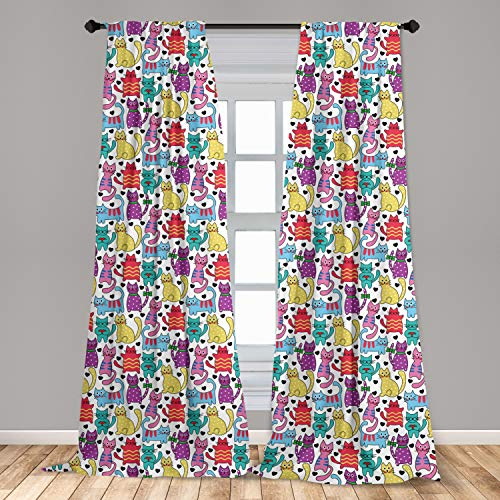 """Ambesonne Cat Window Curtains, Cartoon Style Lively Colored Friendly Cheerful Characters with Hearts Happiness Love, Lightweight Decorative Panels Set of 2 with Rod Pocket, 56"""" x 95"""", Purple Pink"""